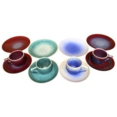 Set of Japanese Contemporary Hand-Glazed Ceramic Demitasse Cups, Saucers, Plates