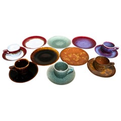 Set of Red Black Hand-Glazed Porcelain Espresso Cup, Saucer and Plate, Artist