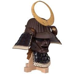Set of Japanese Samurai Helmet (kabuto) and Mask, Signed Muneharu, 19th Century