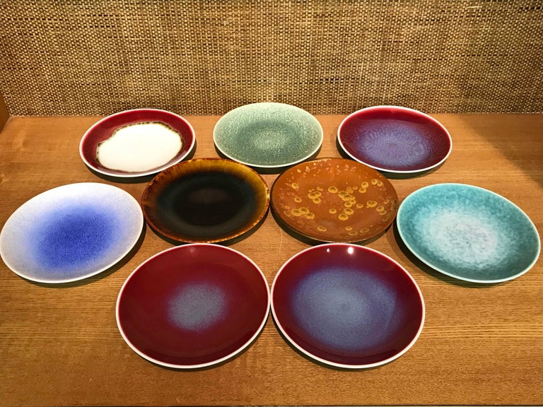 Set of Japanese Tall Hand Glazed Porcelain Mug Cups and Plates by Master Artist For Sale 6