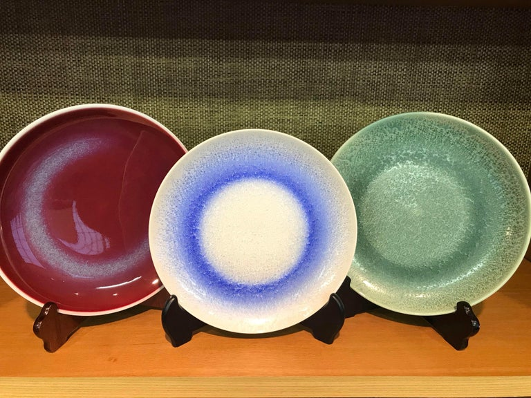 Set of Japanese Tall Hand Glazed Porcelain Mug Cups and Plates by Master Artist For Sale 10