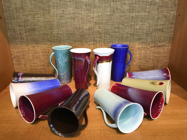 Set of Japanese Tall Hand-Glazed Porcelain Mug Cups and Plates by Master Artist In New Condition For Sale In Vancouver, CA