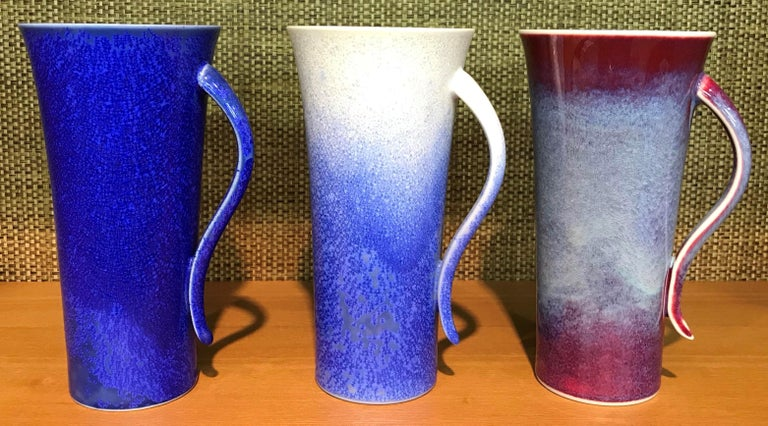 Contemporary Set of Japanese Tall Hand Glazed Porcelain Mug Cups and Plates by Master Artist For Sale