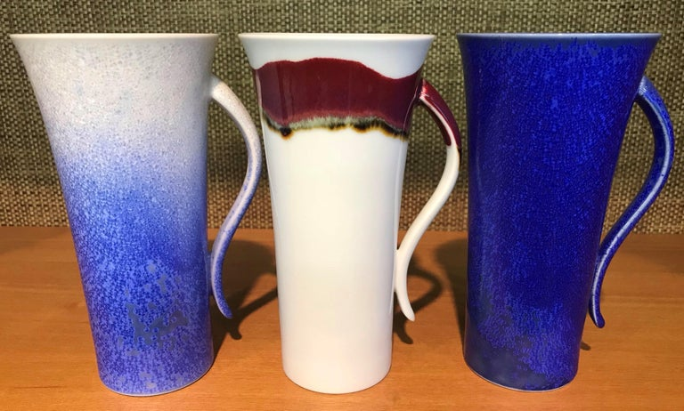 Contemporary Set of Japanese Tall Hand-Glazed Porcelain Mug Cups and Plates by Master Artist For Sale
