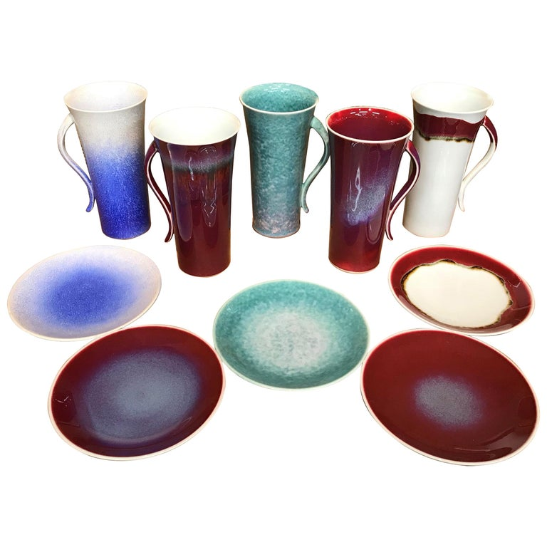 Set of Japanese Tall Hand-Glazed Porcelain Mug Cups and Plates by Master Artist For Sale