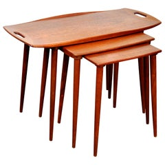Set of Jens Quistgaard for Richard Nissen Teak Nesting Tables