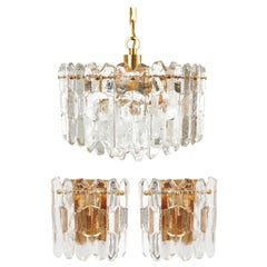 Set of Kalmar Chandelier Pendant Light Sconces 'Palazzo', Gilt Brass Glass, 1970