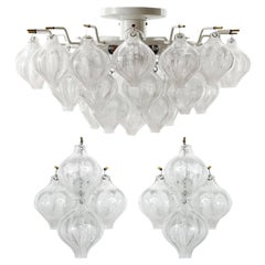 Set of Kalmar Flush Mount Light and Pair of Sconces 'Tulipan', Glass Brass, 1970