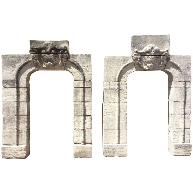 Set of Keystone Antique Entryway Arches For Sale