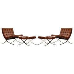 Set of Knoll Associates Barcelona Chairs and Ottomans by Mies van der Rohe, 1961