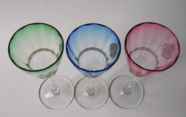 Set of Koloman Moser Designed 'Lucca Liquor' Bohemian Glasses by Meyr's Neffe For Sale 3