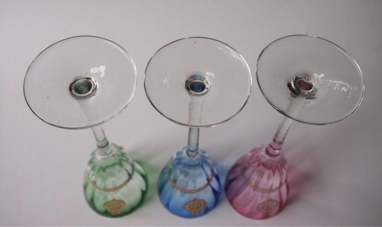 Set of Koloman Moser Designed 'Lucca Liquor' Bohemian Glasses by Meyr's Neffe For Sale 4