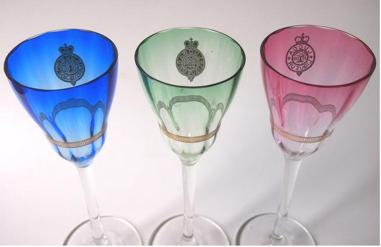 Czech Set of Koloman Moser Designed 'Lucca Liquor' Bohemian Glasses by Meyr's Neffe For Sale