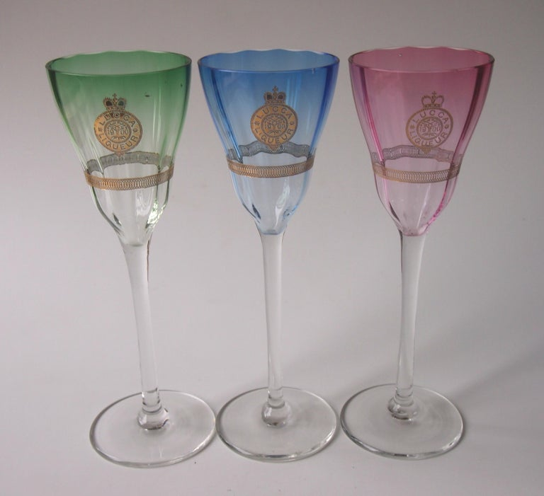 Set of Koloman Moser Designed 'Lucca Liquor' Bohemian Glasses by Meyr's Neffe For Sale 1