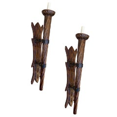 Set of Large Carved Wood Torch Sconces, Sold per Pair