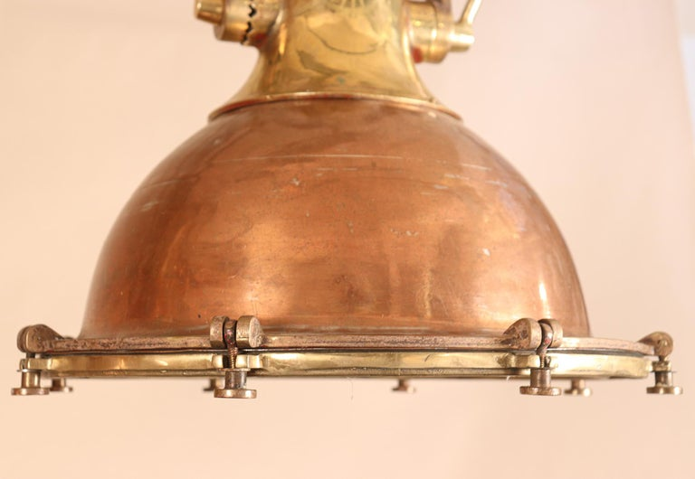 Set of Large Copper and Brass Nautical Pendant Lights For Sale 6