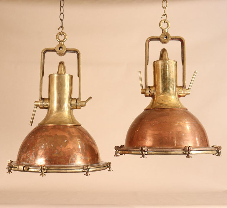 Industrial Set of Large Copper and Brass Nautical Pendant Lights For Sale