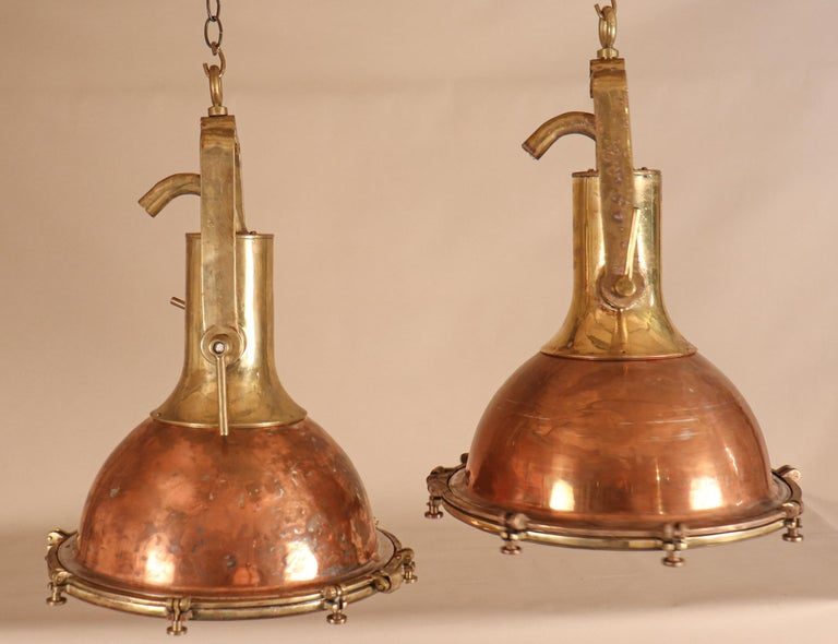 Unknown Set of Large Copper and Brass Nautical Pendant Lights For Sale