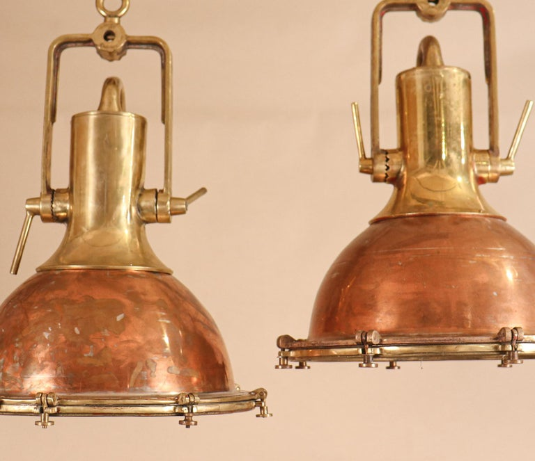 Set of Large Copper and Brass Nautical Pendant Lights In Good Condition For Sale In Heath, MA