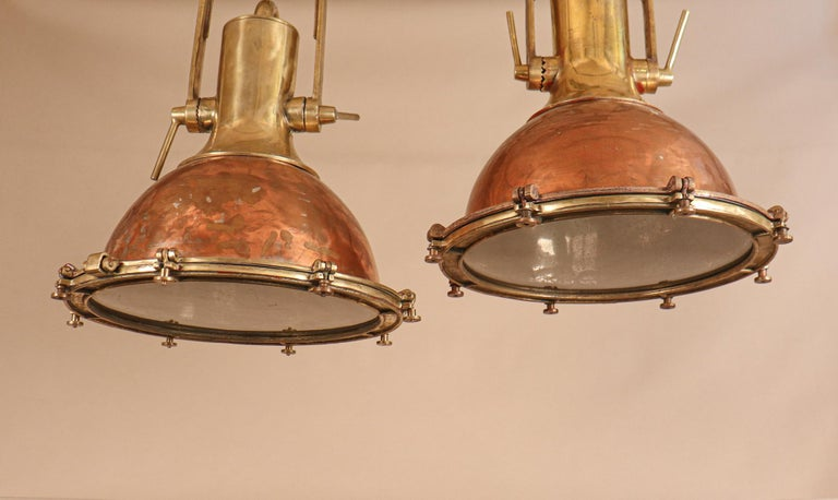 20th Century Set of Large Copper and Brass Nautical Pendant Lights For Sale