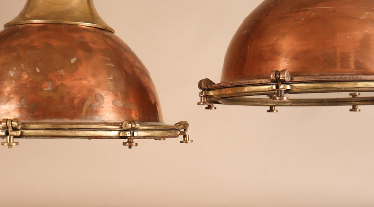 Set of Large Copper and Brass Nautical Pendant Lights For Sale 1
