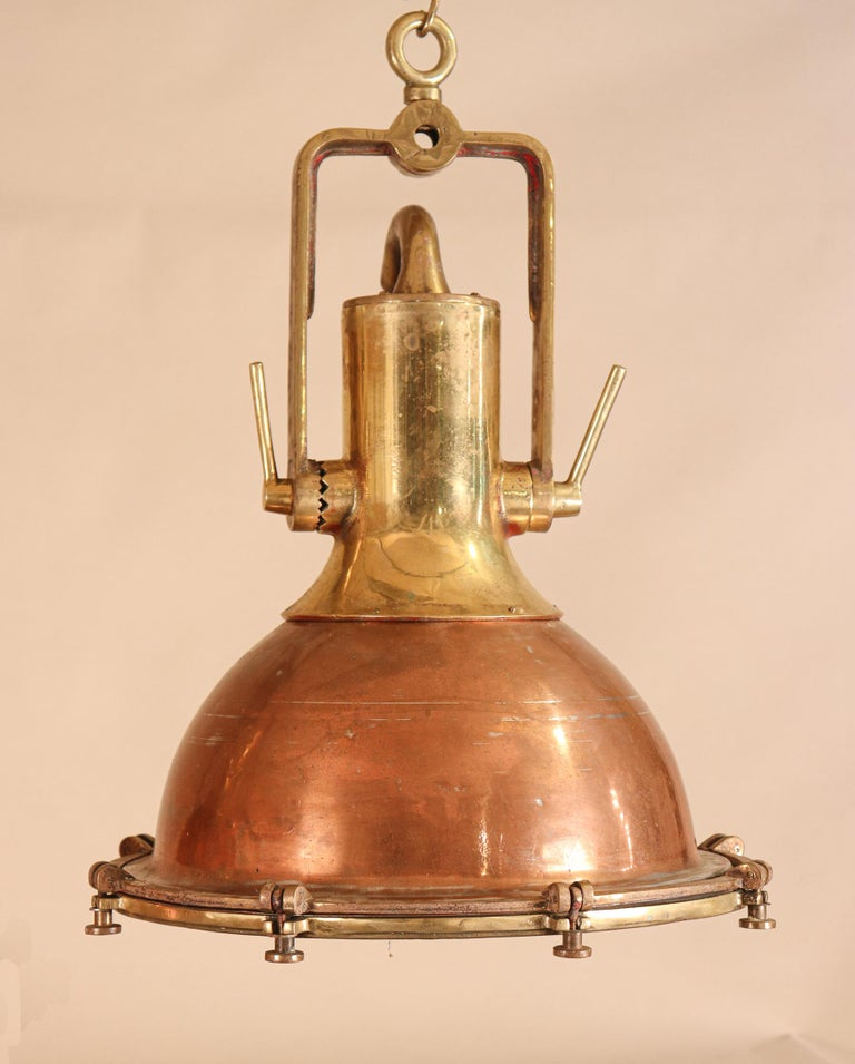 Set of Large Copper and Brass Nautical Pendant Lights For Sale 2