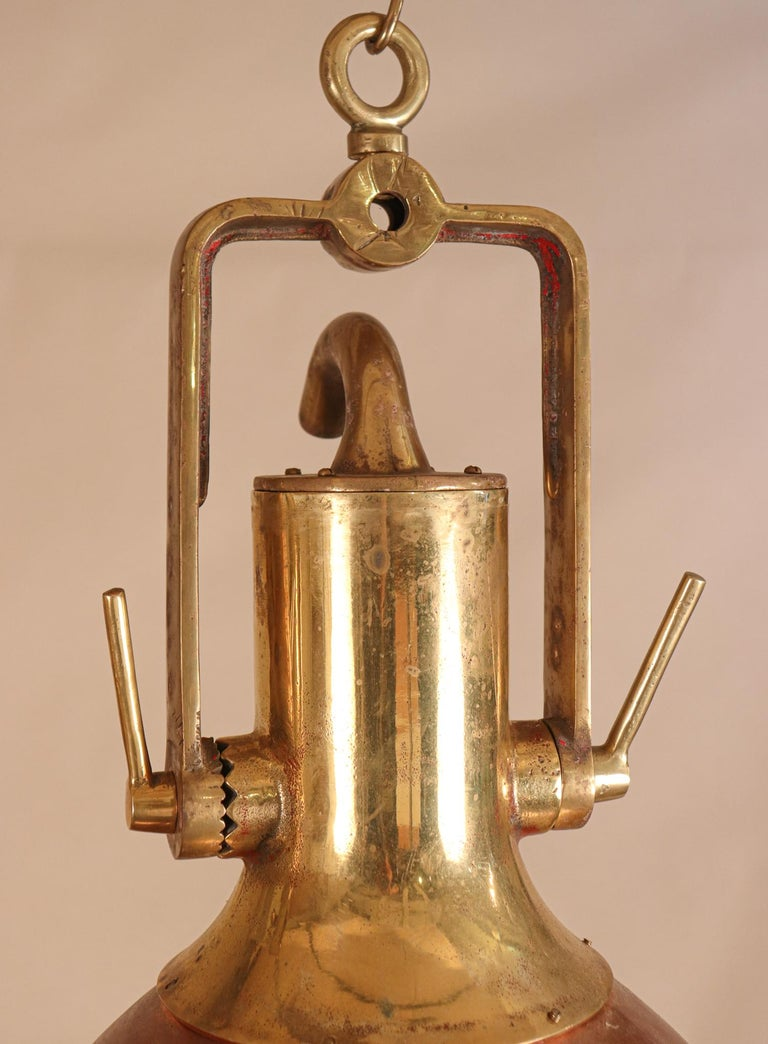 Set of Large Copper and Brass Nautical Pendant Lights For Sale 3