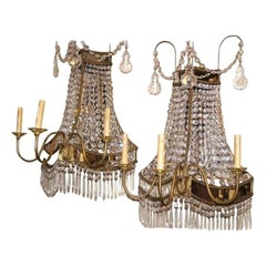 Set of Large Crystal and Mirror Back Sconces, Sold Per Pair