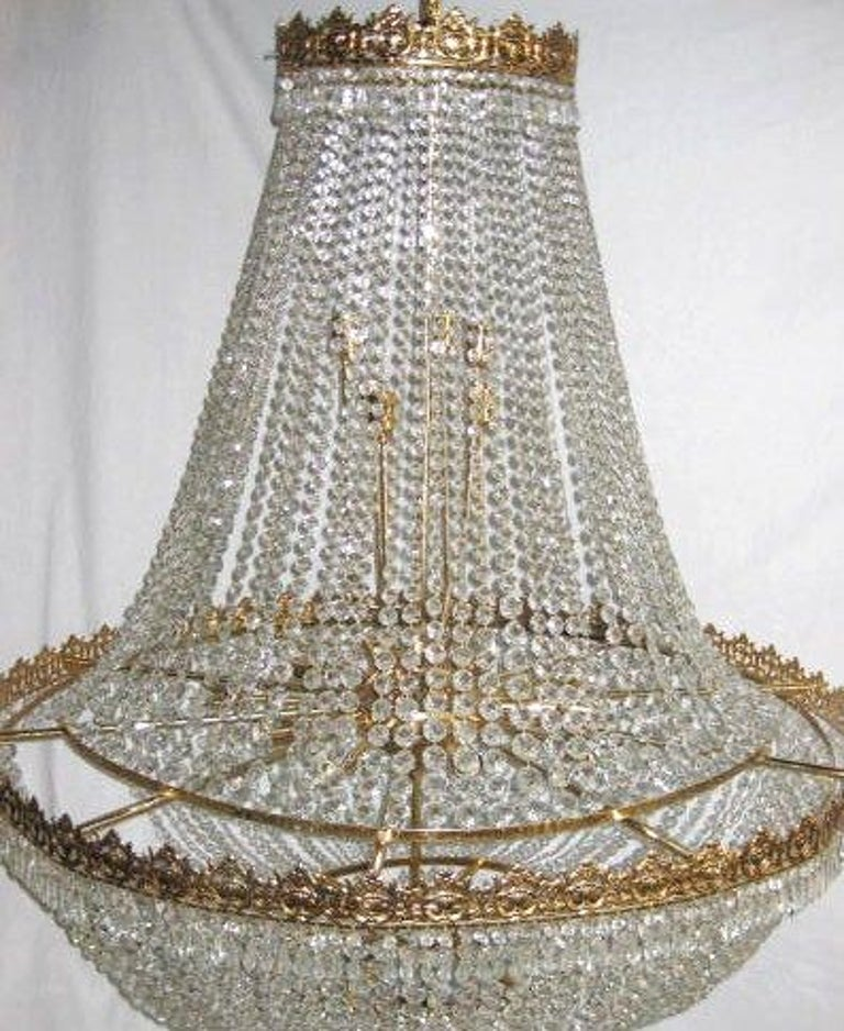 French Set of Large Crystal Chandeliers, Sold Individually For Sale