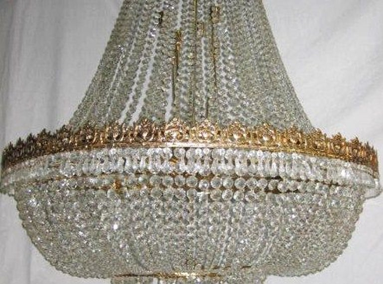 Set of Large Crystal Chandeliers, Sold Individually In Good Condition For Sale In New York, NY