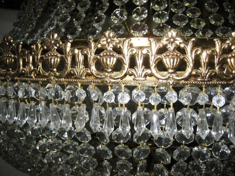 Mid-20th Century Set of Large Crystal Chandeliers, Sold Individually For Sale