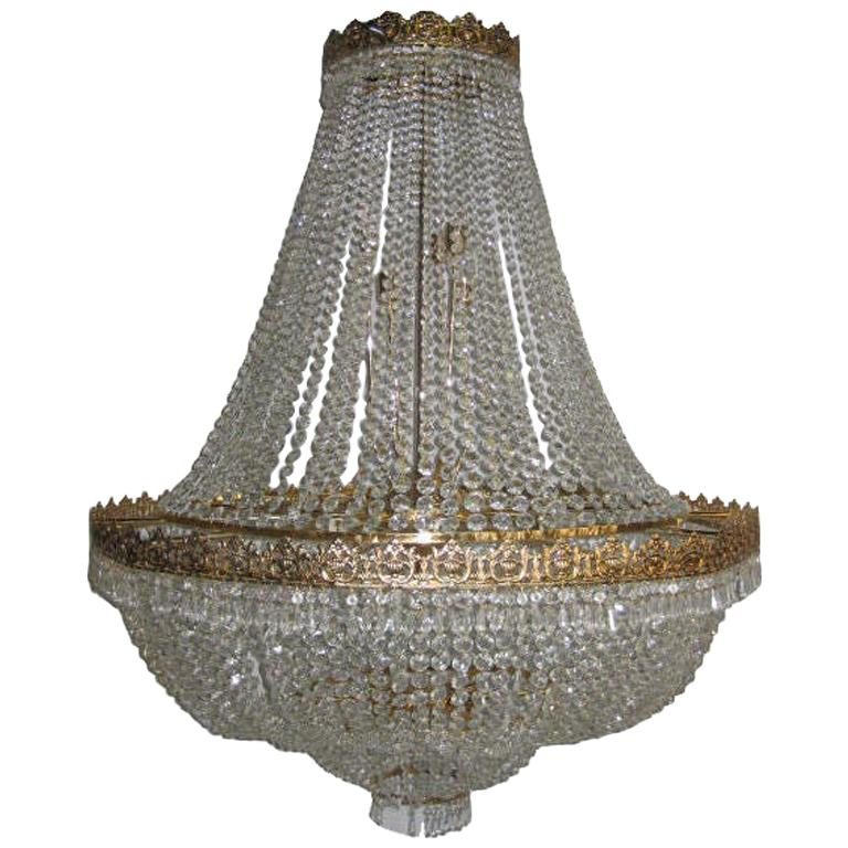 Set of Large Crystal Chandeliers, Sold Individually For Sale