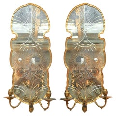 Set of Large Etched Mirrored Sconces, Sold Per Pair