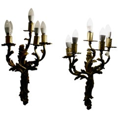 Set of Large French Brass 5 Branch Wall Lights
