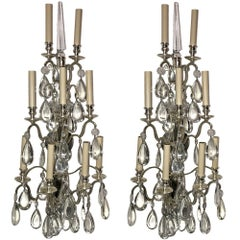 Set of Large French Silver Plated Sconces