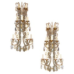 Set of Large Gilt Metal & Crystal Sconces, Sold Per Pair
