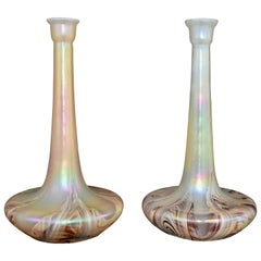 Set of large Iridescent Jugendstil / Art Nouveau Wilhelm Kralik Sohn Vases