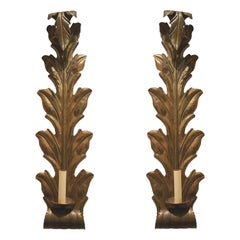 Set of Large Leaf-Shaped Sconces, Sold in Pairs