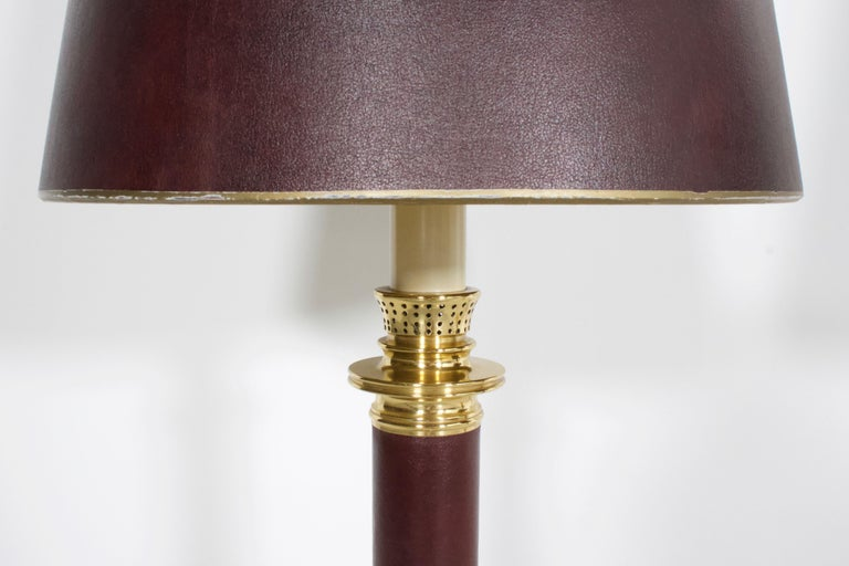 Neoclassical Set of Large Leather and Brass Maison Jansen Table Lamps, France, 1970s For Sale