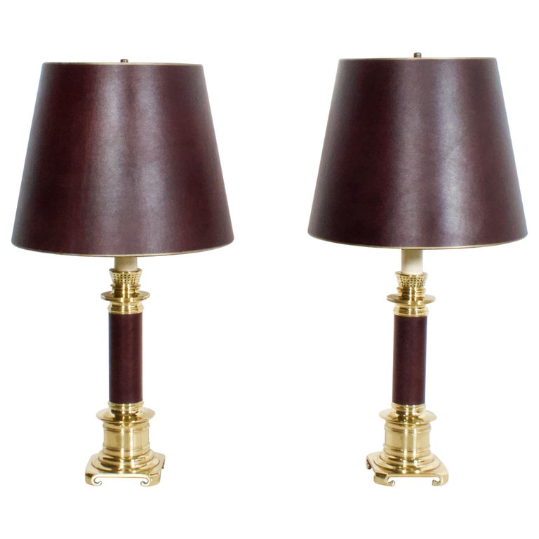 Set of Large Leather and Brass Maison Jansen Table Lamps, France, 1970s For Sale
