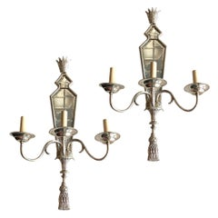 Set of Large Mirrored Sconces, Sold in Pairs