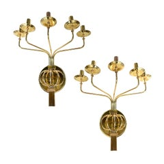 Set of Large Moderne Style 5-Arm Sconces