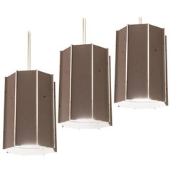 Set of Large Pendants in Aluminum and Lucite