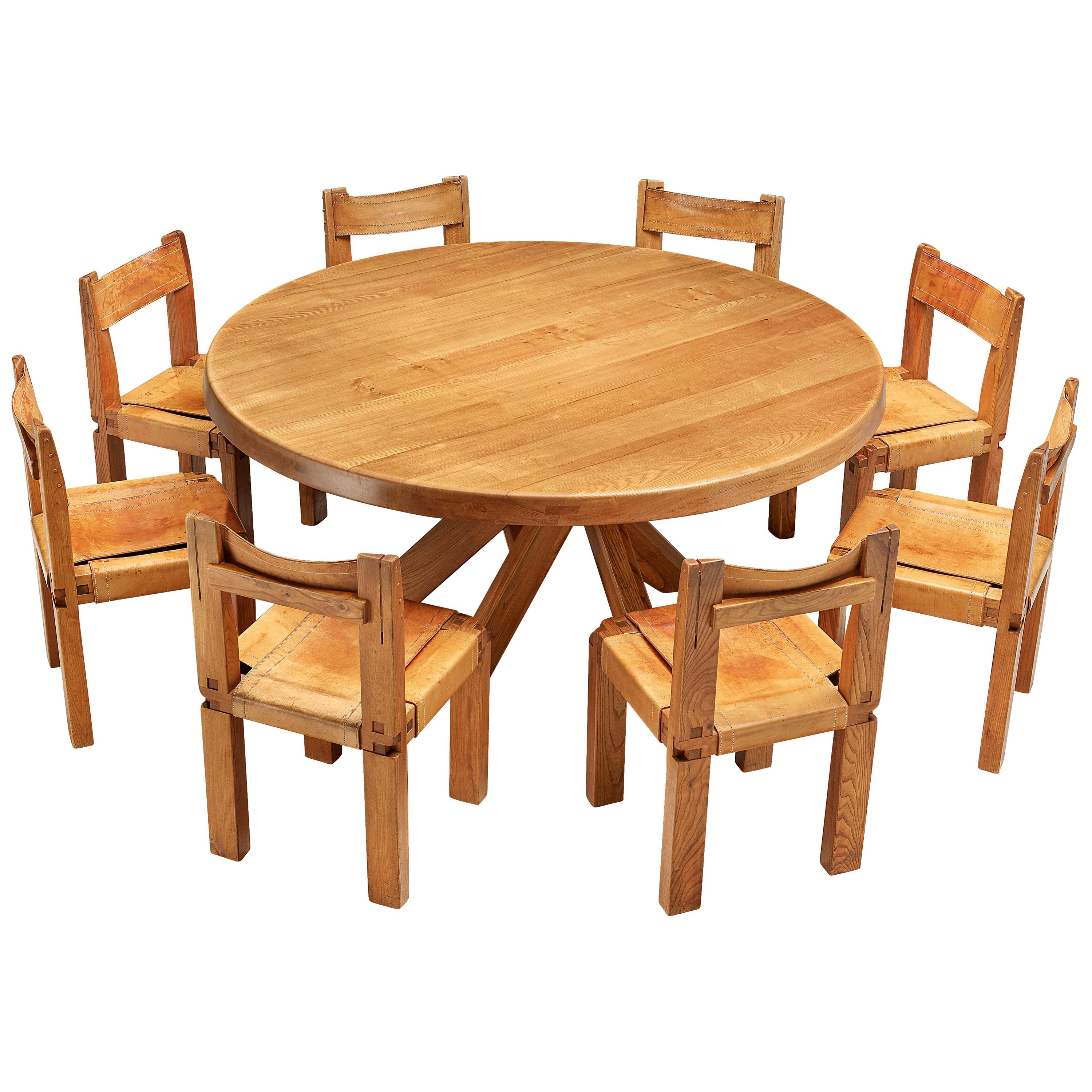 Set of Large Pierre Chapo T21E 'Sfax' Dining Table and Eight 'S11' Dining Chairs
