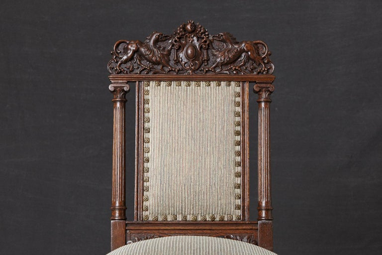 Set of Late 19th Century High Back Renaissance Style 'His and Her' Throne Chairs For Sale 4