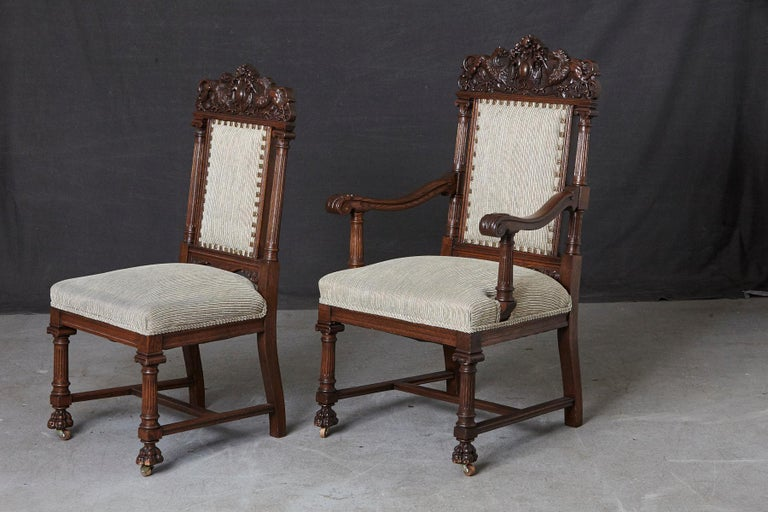 Renaissance Revival Set of Late 19th Century High Back Renaissance Style 'His and Her' Throne Chairs For Sale