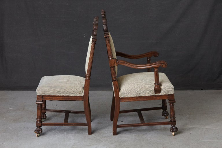 American Set of Late 19th Century High Back Renaissance Style 'His and Her' Throne Chairs For Sale