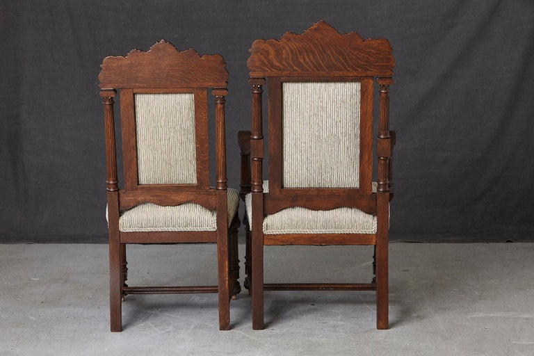Set of Late 19th Century High Back Renaissance Style 'His and Her' Throne Chairs In Good Condition For Sale In Weston, CT