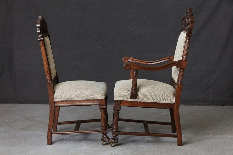 Oak Set of Late 19th Century High Back Renaissance Style 'His and Her' Throne Chairs For Sale