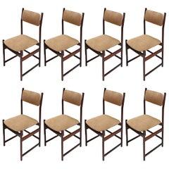 Set of L'Atelier Brazilian Jacaranda Wood 1960s Dining Chairs in Beige Suede